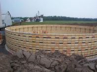 Circular concrete formwork - installed panels
